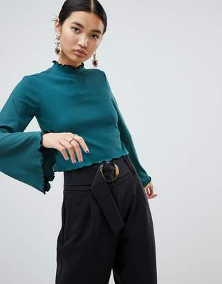 NA-KD high neck frill detail jersey top in green