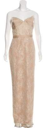 Marchesa Lace Strapless Evening Gown Tan Lace Strapless Evening Gown