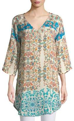 Johnny Was Betty Half-Sleeve Floral-Print Blouse, Plus Size