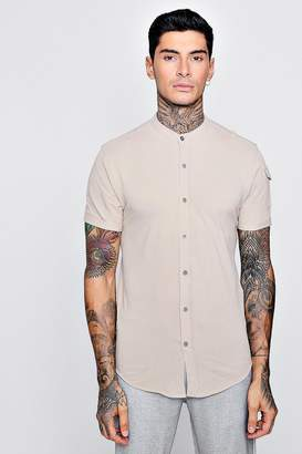 boohoo Short Sleeve Granded Shirt With Pocket Detail