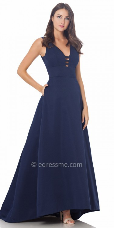 Carmen Marc ValvoCarmen Marc Valvo Infusion Deep V A Line Prom Dress
