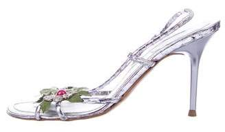 Rene Caovilla Metallic Slingback Sandals