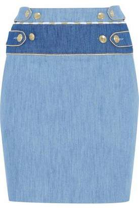 Pierre Balmain Metallic-Trimmed Paneled Stretch Denim Mini Skirt