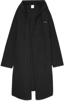 Oversized Hooded Printed Cotton-jersey Coat - Black