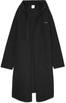 Vetements Oversized Hooded Printed Cotton-jersey Coat - Black