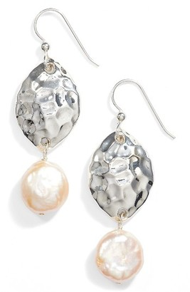 Women's Simon Sebbag Hammered Pearl Drop Earrings $98 thestylecure.com
