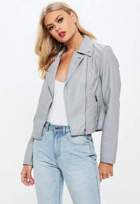 Missguided Gray Faux Leather Biker Jacket