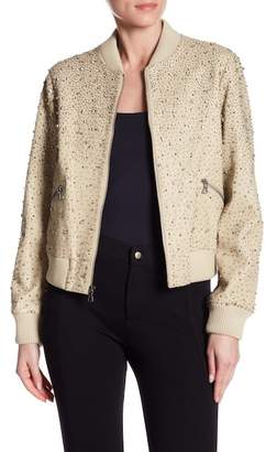 Alice + Olivia Demia Embroidered Lamb Leather Bomber Jacket