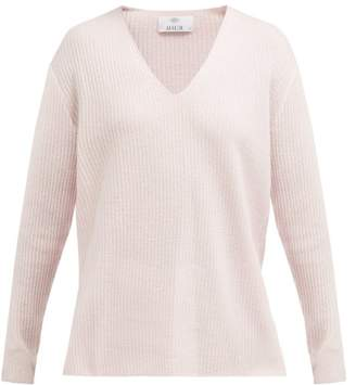 Allude Ribbed Cashmere V Neck Sweater - Womens - Light Pink
