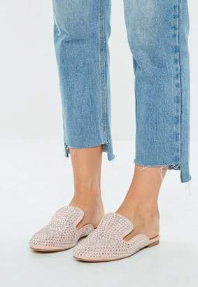 Missguided Pink All Over Embellished Slip on Mule