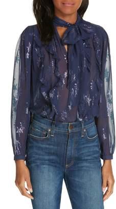 Rebecca Taylor Metallic Star Silk Chiffon Blouse