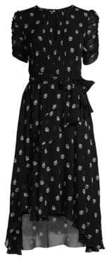 Shoshanna Women's Savona Floral Waist-Tie Dress - Black White - Size 0