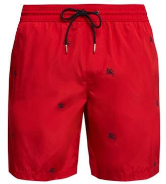 Burberry Logo Embroidered Swim Shorts - Mens - Red Multi