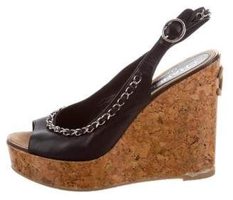 Chanel Chain-Link Slingback Wedges