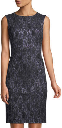 Tahari ASL Sleeveless Shimmer-Lace Cocktail Dress