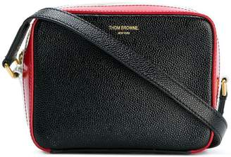 Thom Browne Business Bag Mini (17x13x7,5 Cm) With Cross Body Strap In Pebble Lucido Leather & Calf Leather