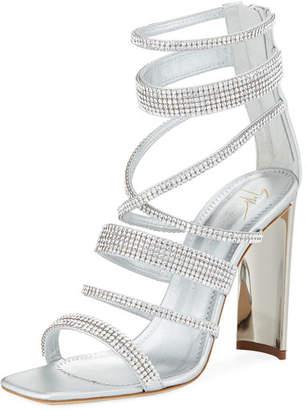 Giuseppe Zanotti Crystal-Caged Metallic Leather Sandal