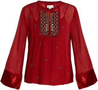 Velvet by Graham & Spencer Becky embellished chiffon blouse