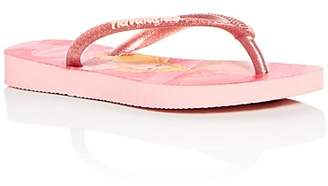 Havaianas Girls' Princess Glitter Slim Flip-Flops - Walker, Toddler, Little Kid