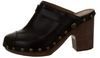 Chanel Leather Studded Mules Brown Leather Studded Mules