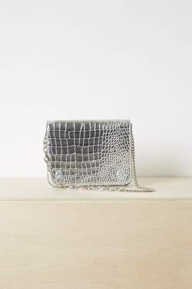 French Connenction Noah Metallic Faux Crocodile Crossbody Bag