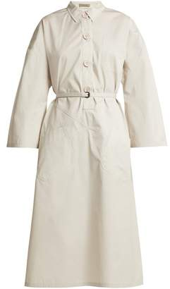 Bottega Veneta Tie Waist Cotton Shirtdress - Womens - Ivory