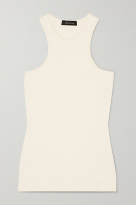 Gold Sign Ribbed Stretch-jersey Tank - White