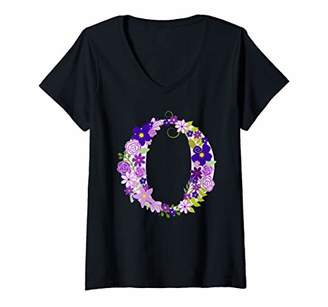 Womens Floral Letter O - Alphabet Letters Pink Purple Flower V-Neck T-Shirt