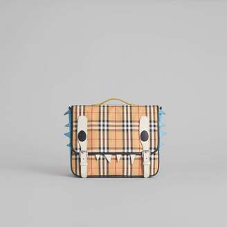 Burberry Monster Detail Vintage Check and Leather Satchel