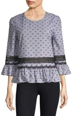 KOBI HALPERIN Long Bell-Sleeve Cotton Blouse