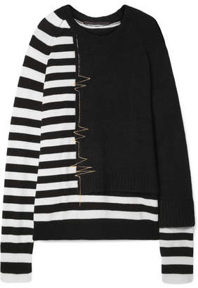 Haider Ackermann Oversized Striped Wool-blend Sweater - Black
