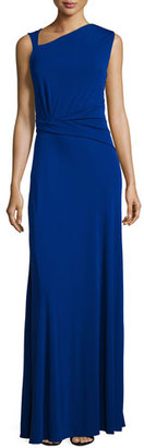 St. John Collection Ruched Matte Jersey Sleeveless Gown, Indigo $1,395 thestylecure.com