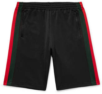 Gucci Wide-Leg Webbing-Trimmed Jersey Shorts
