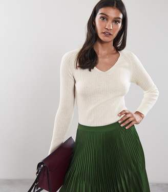 Reiss ELOUISE RIBBED V-NECK JUMPER Off White
