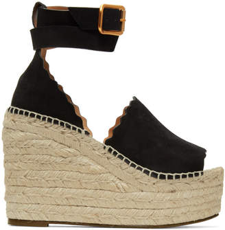 Chloé Black Suede Lauren Wedge Sandals