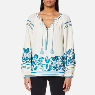 Maison Scotch Women's Boho Cotton Top with Special Embroideries