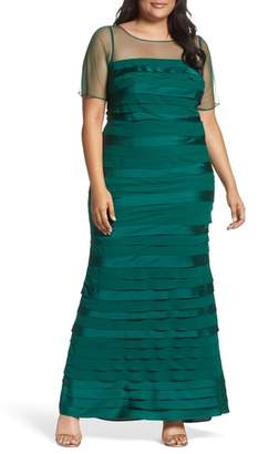 Adrianna Papell Illusion Neck Shutter Pleat Gown