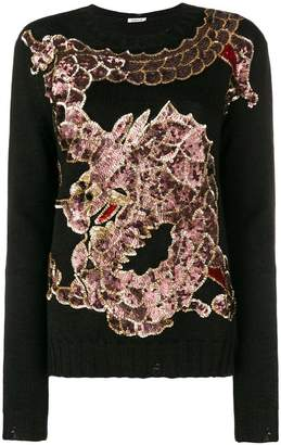 P.A.R.O.S.H. sequinned dragon embroidery jumper