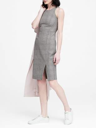Banana Republic Petite Plaid Bi-Stretch Racer-Neck Sheath Dress