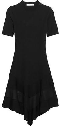 Givenchy Organza-Paneled Dress In Black Ribbed-Knit
