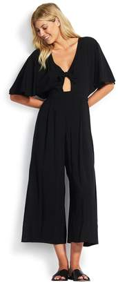 Seafolly Womens Black Tie Front Jumpsuit - Black
