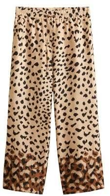 MANGO Leopard flowy trousers