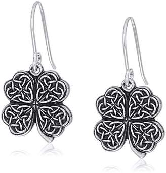 Alex and Ani Womens Four Leaf Clover Hook Drop Earrings, Rafaelian Silver, Expandable