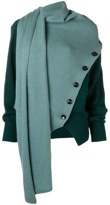 Joseph asymmetric colour block cardigan
