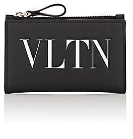 "Valentino Women's ""VLTN"" Leather Folding Card Case - Black"