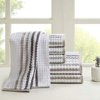 Madison Home USA Rivington 100% Cotton Yarn Dyed Stripe Geometric Soft Luxury Absorbent Bathroom Towel Set Shower Hand Face Washcloths