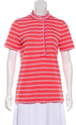 Tory Burch Short Sleeve Mock Neck Top