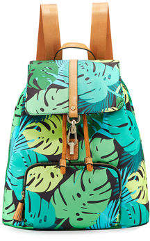 Neiman Marcus Bree Leaf-Print Nylon Backpack