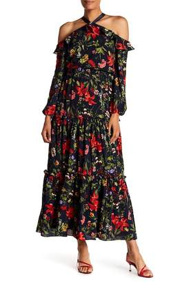 London Times Floral Cold Shoulder Maxi Dress
