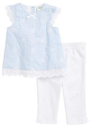 Little Me Gingham Eyelet Woven Tunic, Leggings & Headband Set
